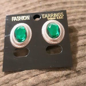 Silver Plated Stud Earrings with Green Button
